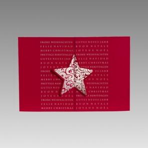 Internationale Weihnachtskarte, geschäftlich in Rot