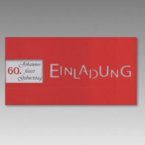 Rote Einladungskarte zum 60. Geburtstag mit Fensterausstanzung