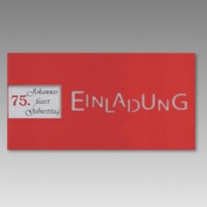 Rote Einladungskarte zum 75. Geburtstag mit Fensterausstanzung