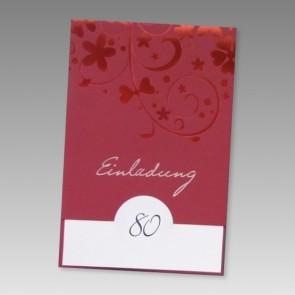 Einladung 80. Geburtstag mit rotem Ornament zum günstigen Preis