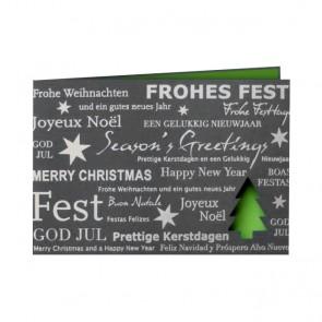 Weihnachtskarte in Grau und schönem Grün
