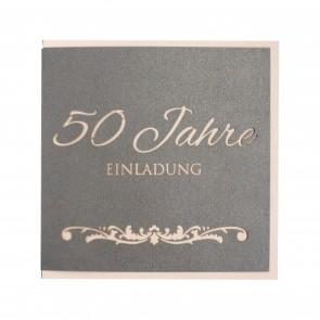 Einladungskarte zum 50. Geburtstag mit besonderem Effekt