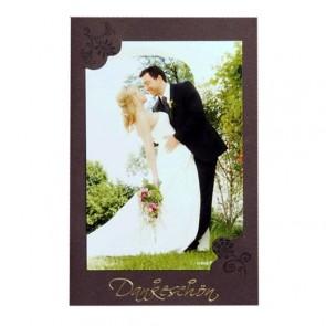 Braune Dankkarte zur Hochzeit ohne Dankestext
