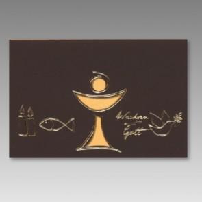 Christliche Einladungskarte zur Kommunion, braun