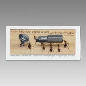 Neujahrskarte in außergewöhnlichem Ameisen-Design