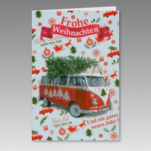 Auffällige Weihnachtskarte, spassig mit Vw Bus