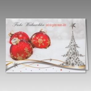 Geschmackvolle Weihnachtskarte mit roten Kugeln