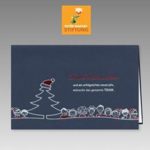 Lustige Team Weihnachtsspendenkarte in dunkelblau für die Peter Maffay Stiftung