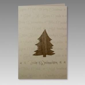Internationale Weihnachtskarte mit Baum aus Holz