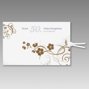 Geburtstagseinladung 50. mit Blumenranken