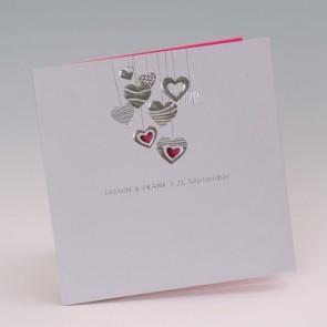 Hochzeit Einladungskarte mit glitzernden Herzen