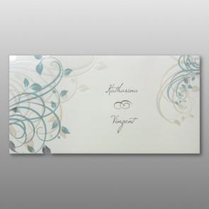 Hochzeitseinladung mit zwei Blumenornamenten