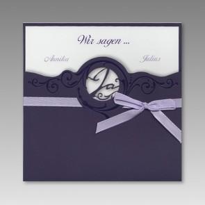 Lila Hochzeit Einladung mit Schleife
