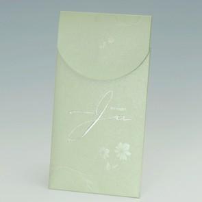 Hochwertige Hochzeitskarte mit grüner Metallic-Einsteckhülle