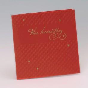 """Einladungskarte rot mit """"Wir heiraten"""", kleine Herzen"""
