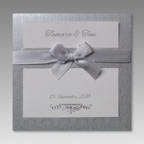 Exklusive Einladungskarte zur Hochzeit mit Schleife