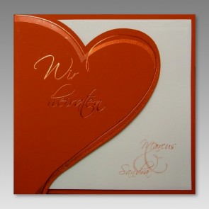 Hochzeitseinladung mit rotem Herz