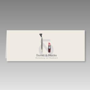 Einladung zur Hochzeit mit Rasierapparat und Lippenstift