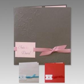 Einladungskarte zur Hochzeit in graumetallic