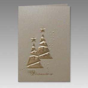Elegante Weihnachtskarte mit zwei goldenen Weihnachtsbäumen