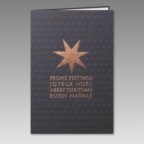 Edle Weihnachtskarte mit geprägten Sternen