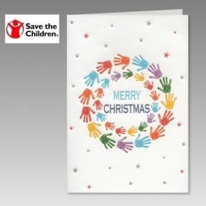 Spenden Weihnachtskarte Save the Children mit Kinderhänden