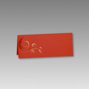 Tischkarte Hochzeit: rot mit Glanzornament